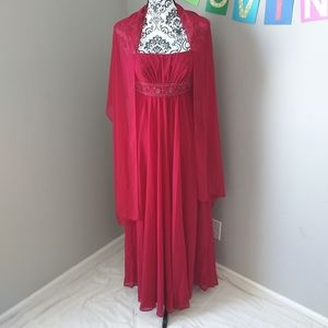 Davids Bridal Red Maxi Gown with Sash